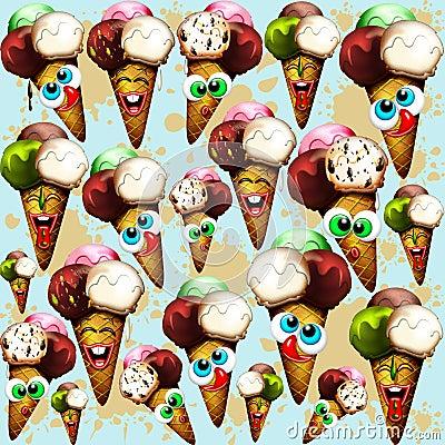 Ice Cream Cones Cartoon Summer Pattern