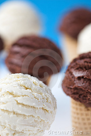 Free Ice Cream Cones - Organic Vanilla & Chocolate. Royalty Free Stock Photography - 19979087
