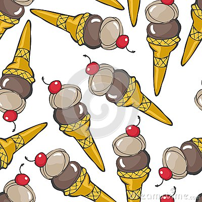 Ice cream in cones with red cherry seamless patter