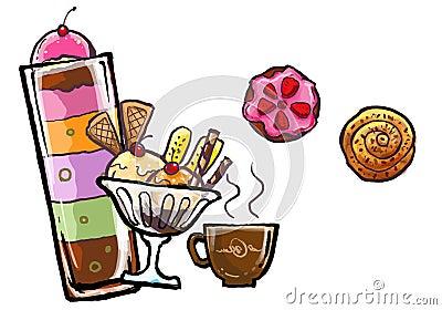 ice cream and desert sweet illustration