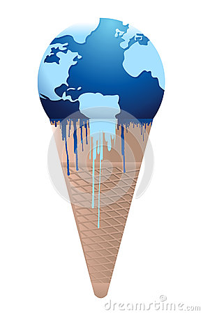 Ice cream earth melts - global warming concept