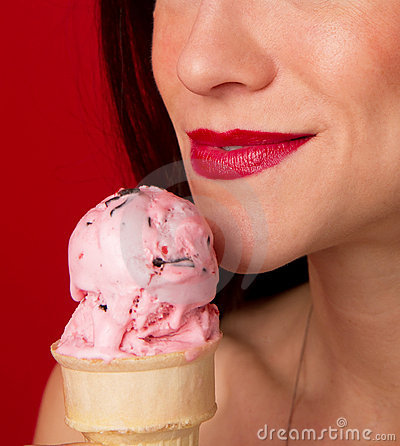 Strawberry Ice Cream Girl Lips Face Close up