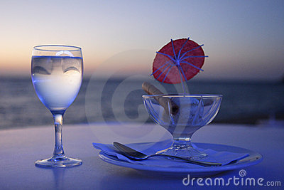 Ice cream and glass of water,