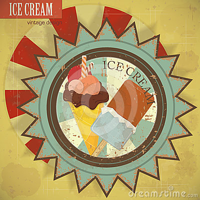 Ice cream on grunge background