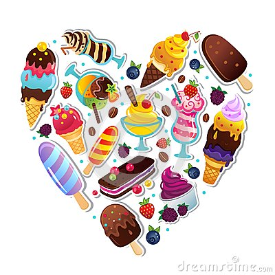 Ice cream heart illustration