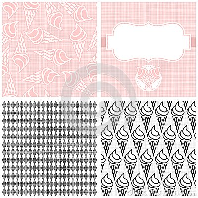 Ice cream in horns monochrome pattern set