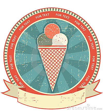 Ice cream label set on old paper texture.Grunge