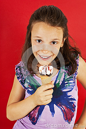 Ice cream little girl excited