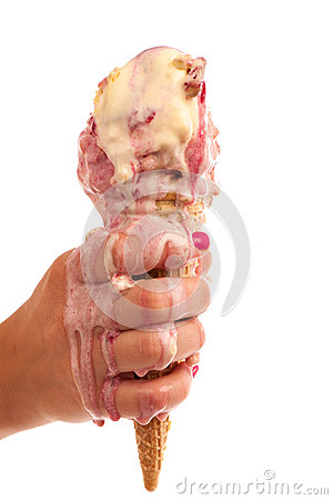 Free Ice Cream Melting In Hand Stock Photography - 33150522