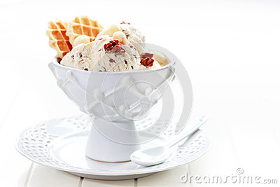 Ice cream with nuts