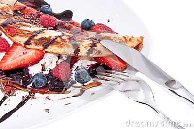 Ice Cream in Pan Cake with fruits