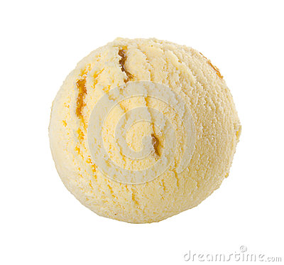 Ice cream scoop milk and nuts