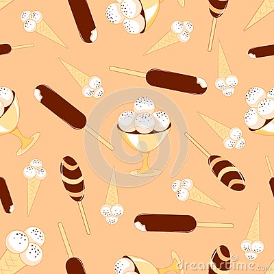 Ice-cream seamless pattern.