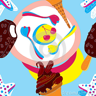 Ice Cream Seamless Pattern With Biscuits and Spoon