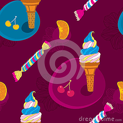 Ice Cream Seamless Pattern With Candy and Fruits