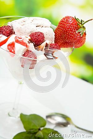 Ice-cream with strawberry