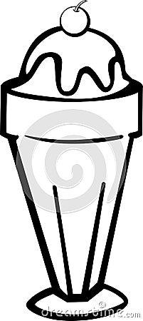 ice cream sundae with chocolate vector