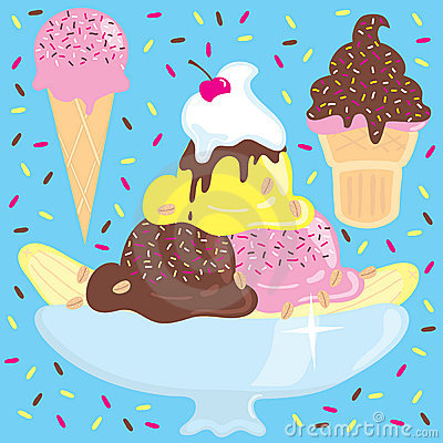 Ice cream sundae with ice cream cones