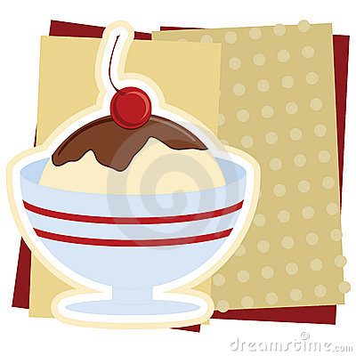 Ice Cream Sundae Illustration