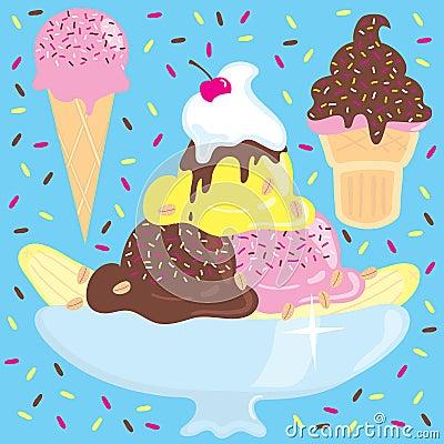Free Ice Cream Sundae With Ice Cream Cones Royalty Free Stock Photo - 8523635