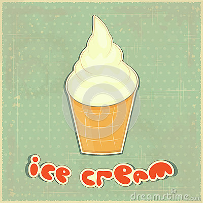 Ice cream Vanilla on retro background