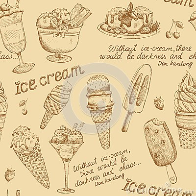 Free Ice Cream Vintage Pattern Royalty Free Stock Photo - 36011055