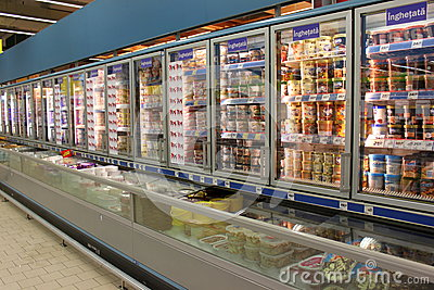 Ice creams in grocery store Editorial Image