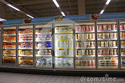 Ice creams in grocery store Editorial Photography