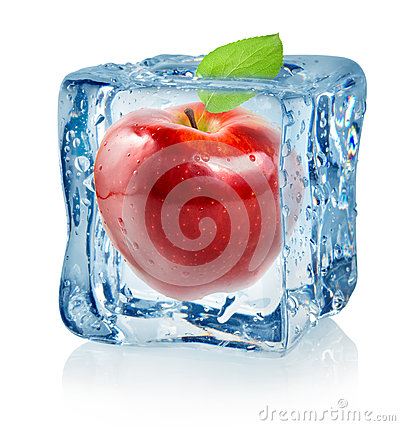 Free Ice Cube And Red Apple Royalty Free Stock Photo - 27728365
