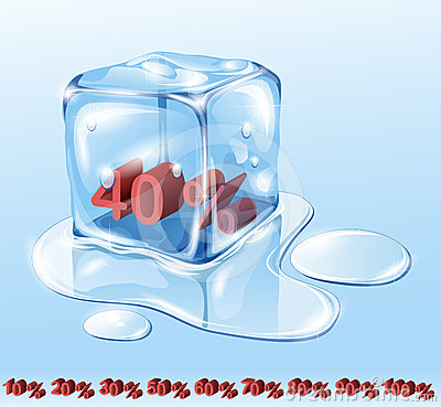 Free Ice Cube And Water Royalty Free Stock Photography - 24309007