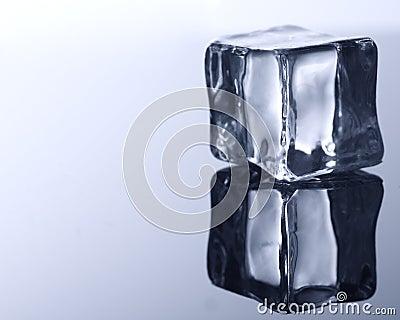 ice cube on blue background.