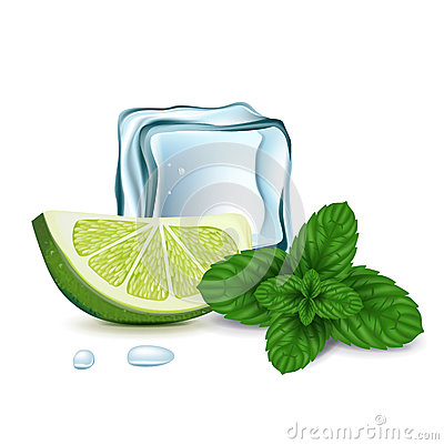 Ice cube with lime slice and mint