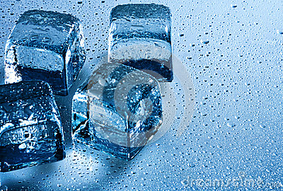Ice cube and water drops