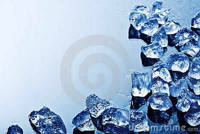 Ice cubes in blue light