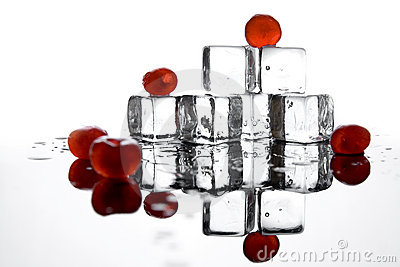 Ice cubes and cherries
