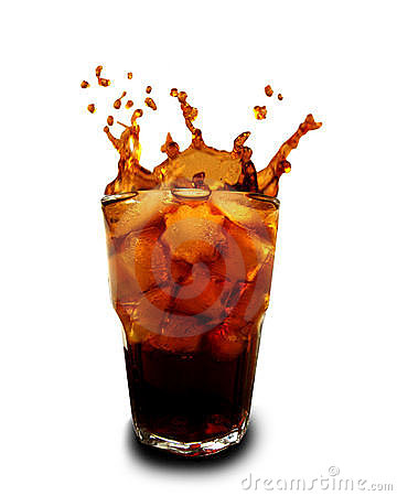 Free Ice Cubes Dropped In Glass With Cola Royalty Free Stock Images - 12050459