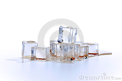 Ice cubes in liquid