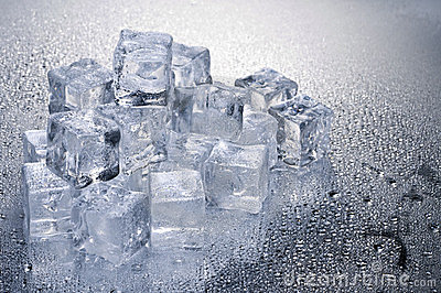 Ice cubes over wet background
