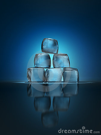 Ice cubes pyramid