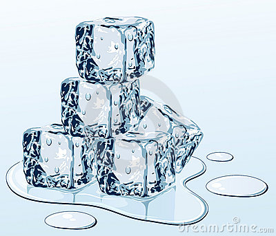 Ice cubes on water surface
