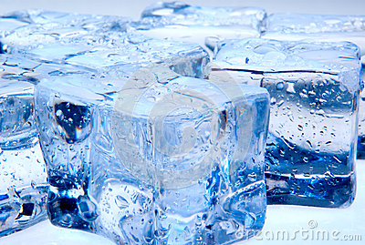 Ice cubes with waterdrops