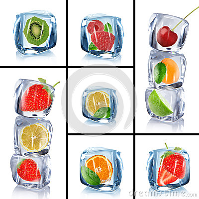 Free Ice Cubes With Frozen Fruits Stock Photography - 30280932