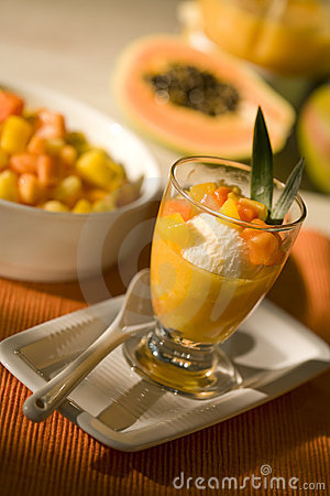 Ice dessert with tropical fruit