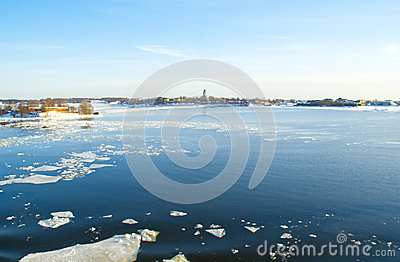 Ice drift in the bright blue Baltic sea
