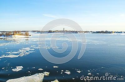 Ice drift in the bright blue Baltic sea