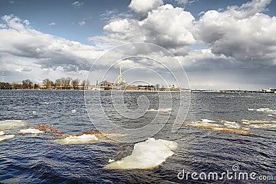 Ice drift on Neva river
