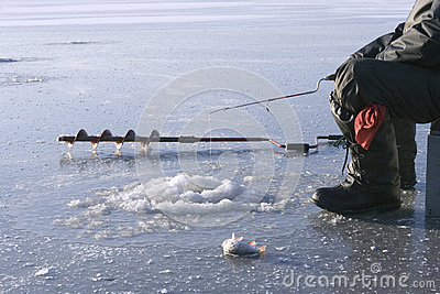Ice drill and ice fishing rod for Frozen fishing pole
