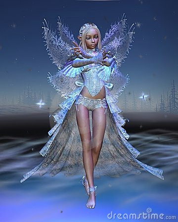 Ice Fairy with Winter Night background