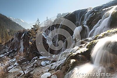 ice falls of jiuzhai pearl beach