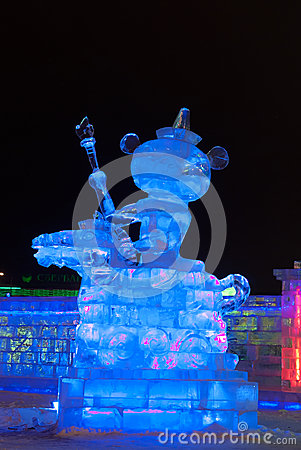 Ice figure a bear cub and a horse Editorial Image